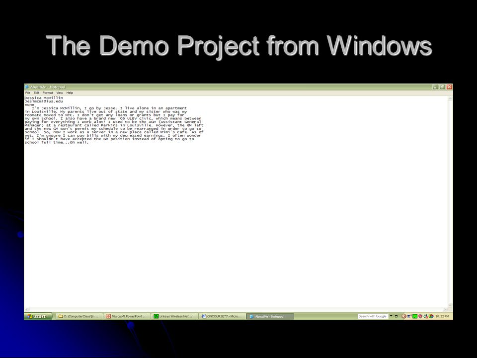 The Demo Project from Windows