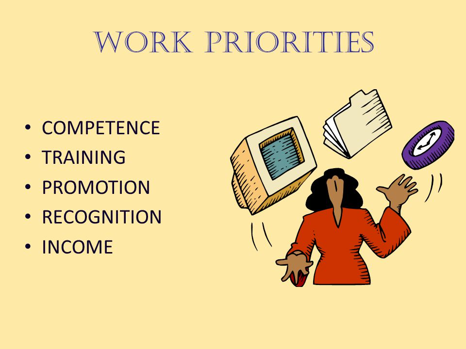 WORK PRIORITIES COMPETENCE TRAINING PROMOTION RECOGNITION INCOME