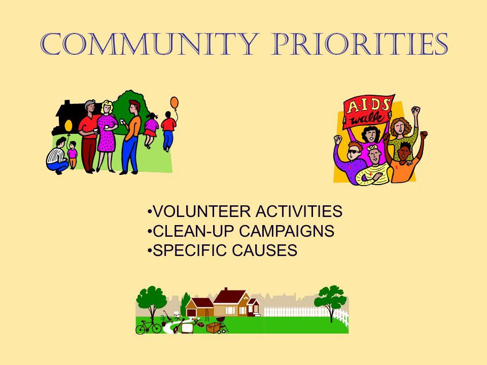 COMMUNITY PRIORITIES VOLUNTEER ACTIVITIES CLEAN-UP CAMPAIGNS SPECIFIC CAUSES
