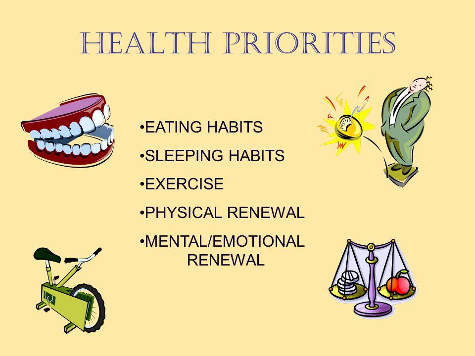 HEALTH PRIORITIES EATING HABITS SLEEPING HABITS EXERCISE PHYSICAL RENEWAL MENTAL/EMOTIONAL RENEWAL