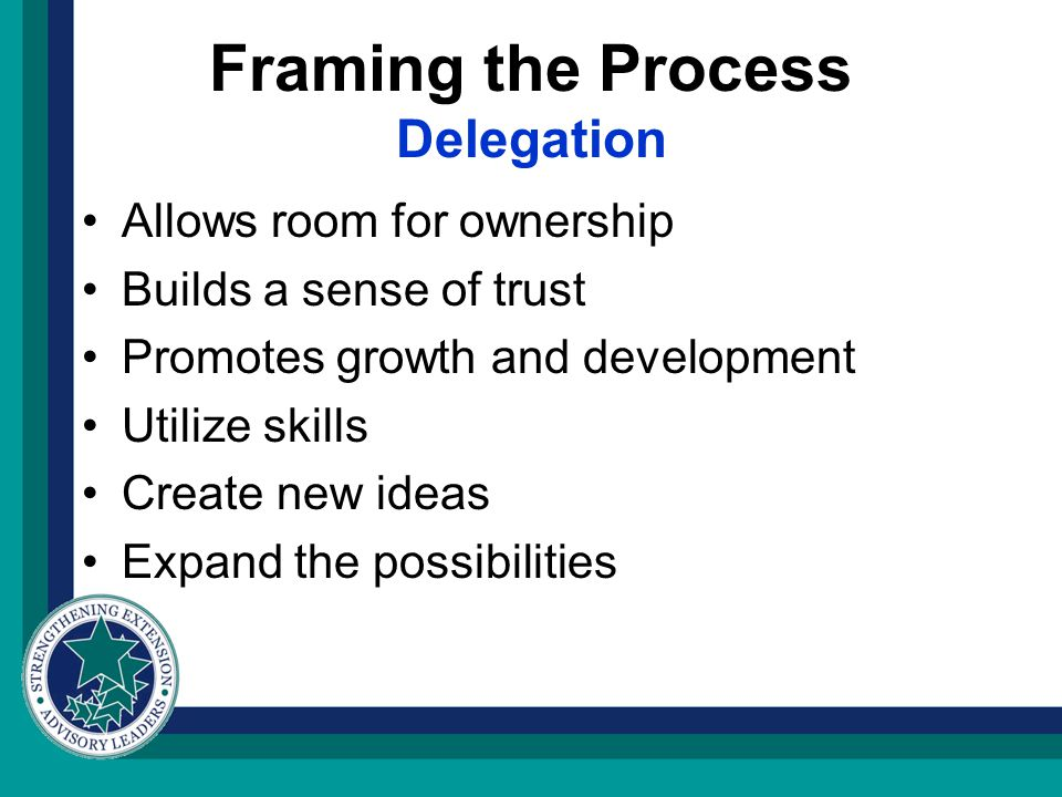 Framing the Process Delegation Allows room for ownership Builds a sense of trust Promotes growth and development Utilize skills Create new ideas Expand the possibilities