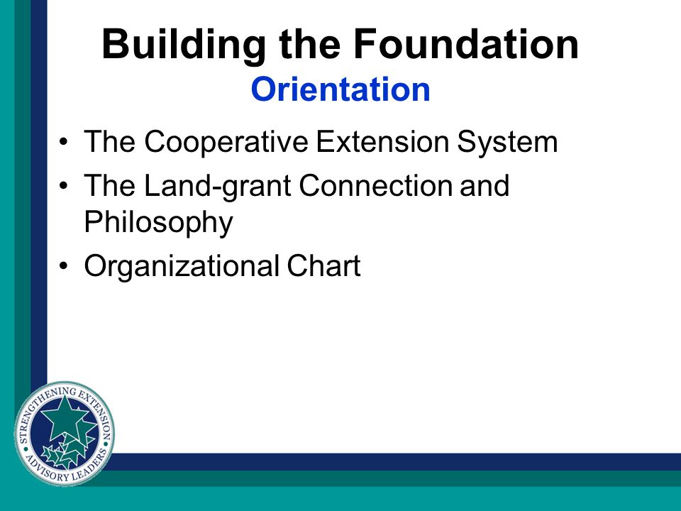 Building the Foundation Orientation The Cooperative Extension System The Land-grant Connection and Philosophy Organizational Chart