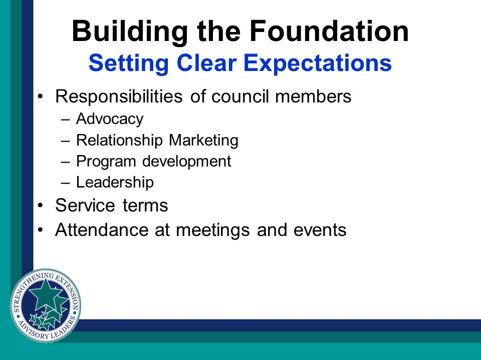 Building the Foundation Setting Clear Expectations Responsibilities of council members –Advocacy –Relationship Marketing –Program development –Leadership Service terms Attendance at meetings and events