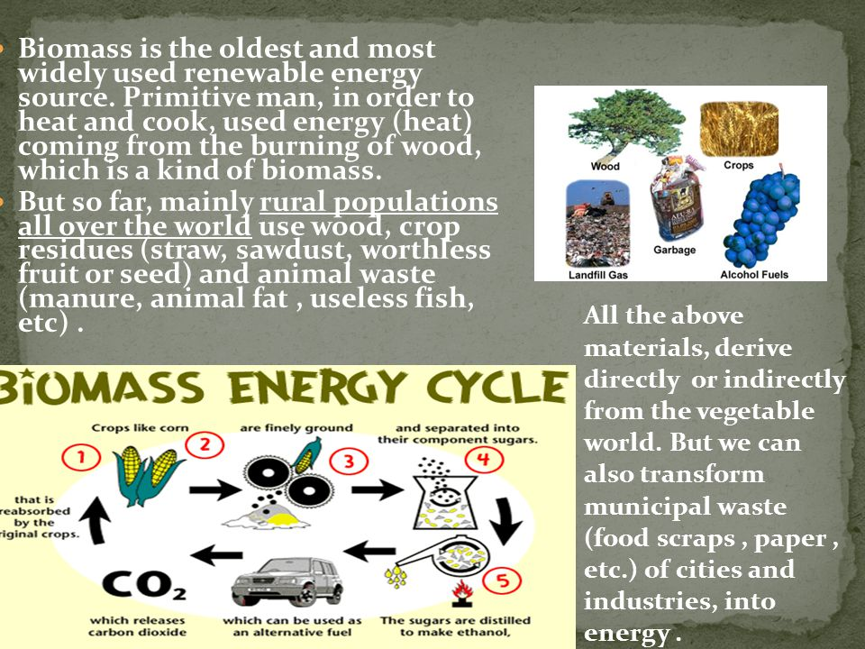 Biomass is the oldest and most widely used renewable energy source.
