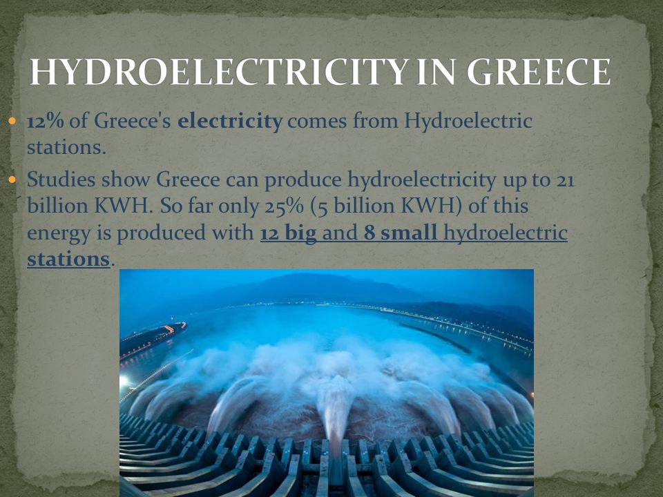 12% of Greece's electricity comes from Hydroelectric stations. Studies show Greece can produce hydroelectricity up to 21 billion KWH. So far only 25%