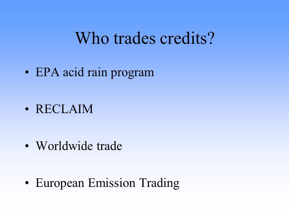 Who trades credits EPA acid rain program RECLAIM Worldwide trade European Emission Trading