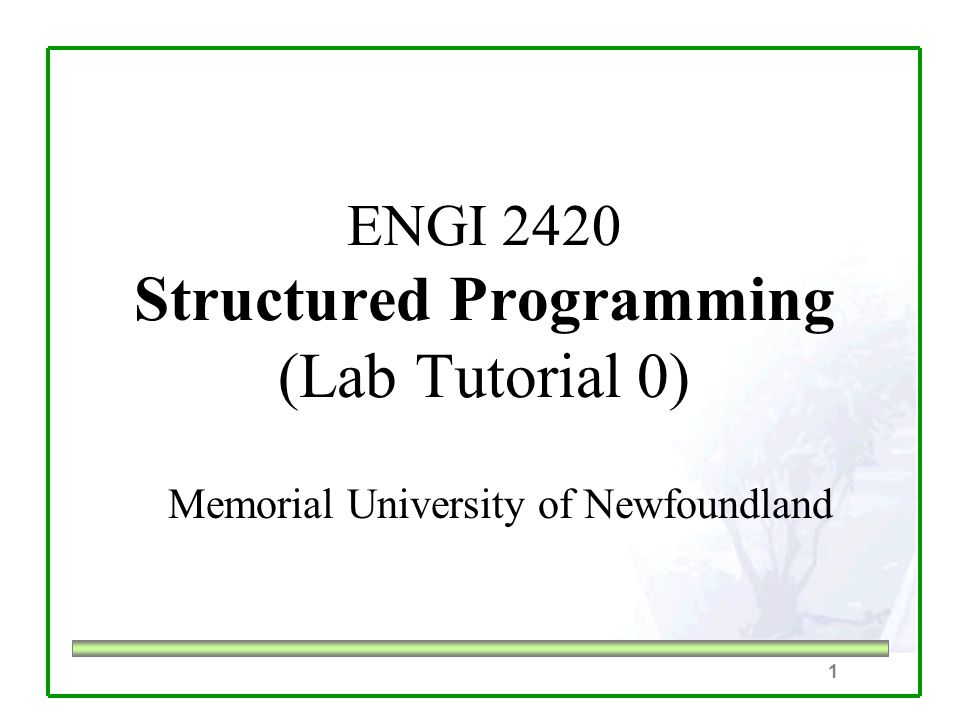 1 ENGI 2420 Structured Programming (Lab Tutorial 0) Memorial University of Newfoundland