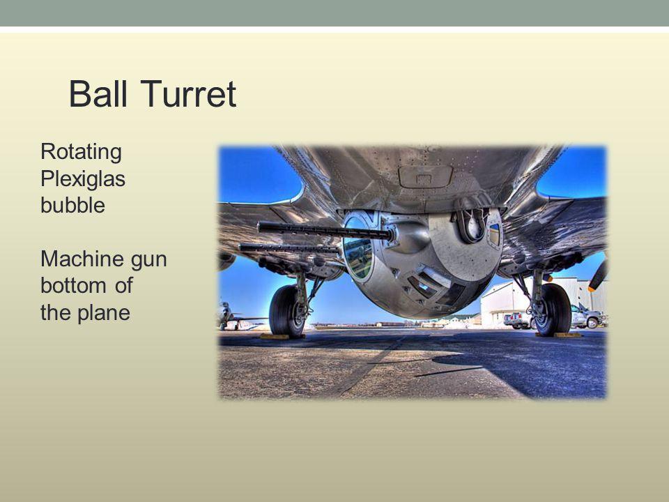 Rotating Plexiglas bubble Machine gun bottom of the plane Ball Turret