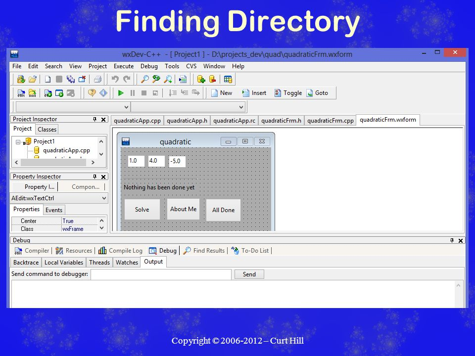 Finding Directory Copyright © 2006-2012 – Curt Hill