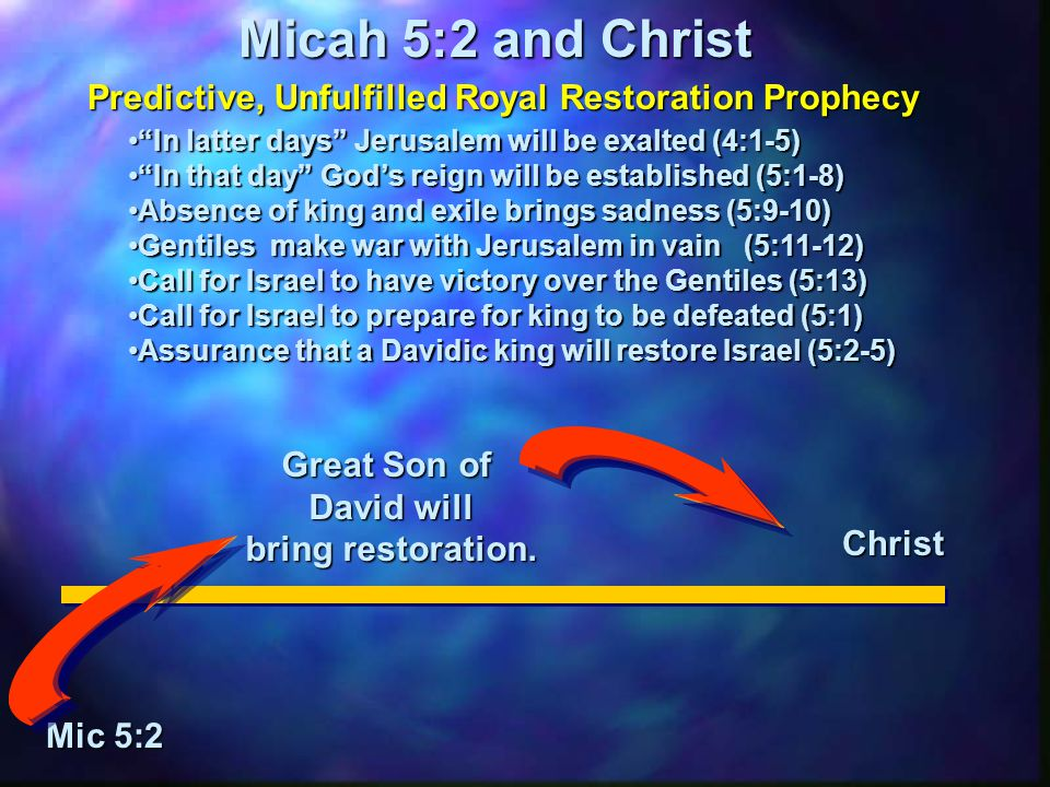 "Micah 5:2 and Christ Mic 5:2 Great Son of David will bring restoration. Christ Predictive, Unfulfilled Royal Restoration Prophecy ""In latter days"" Jer"