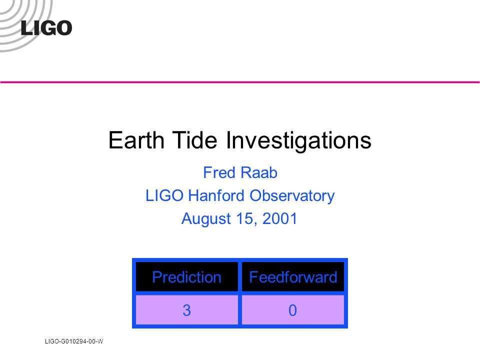 LIGO-G010294-00-W Earth Tide Investigations Fred Raab LIGO Hanford Observatory August 15, 2001 PredictionFeedforward 30