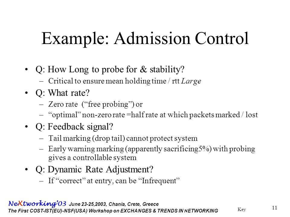 Key Ne X tworking'03 June 23-25,2003, Chania, Crete, Greece The First COST-IST(EU)-NSF(USA) Workshop on EXCHANGES & TRENDS IN N ETWORKING 11 Example: Admission Control Q: How Long to probe for & stability.