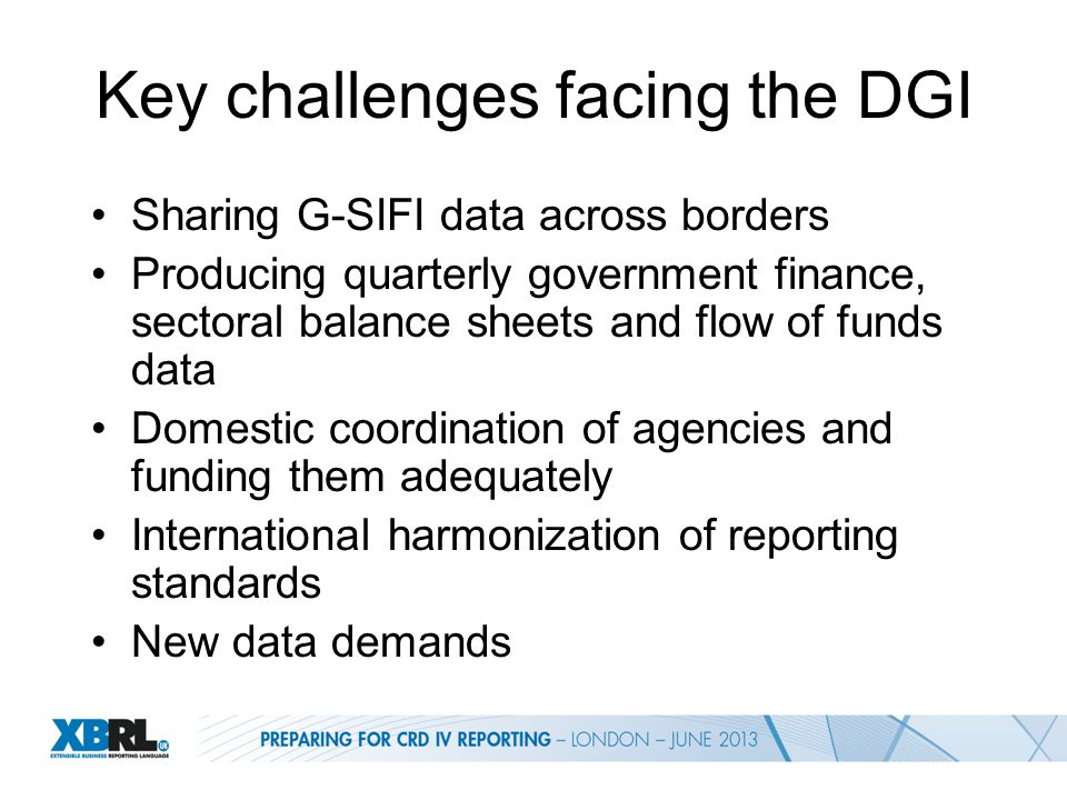 Key challenges facing the DGI Sharing G-SIFI data across borders Producing quarterly government finance, sectoral balance sheets and flow of funds data Domestic coordination of agencies and funding them adequately International harmonization of reporting standards New data demands