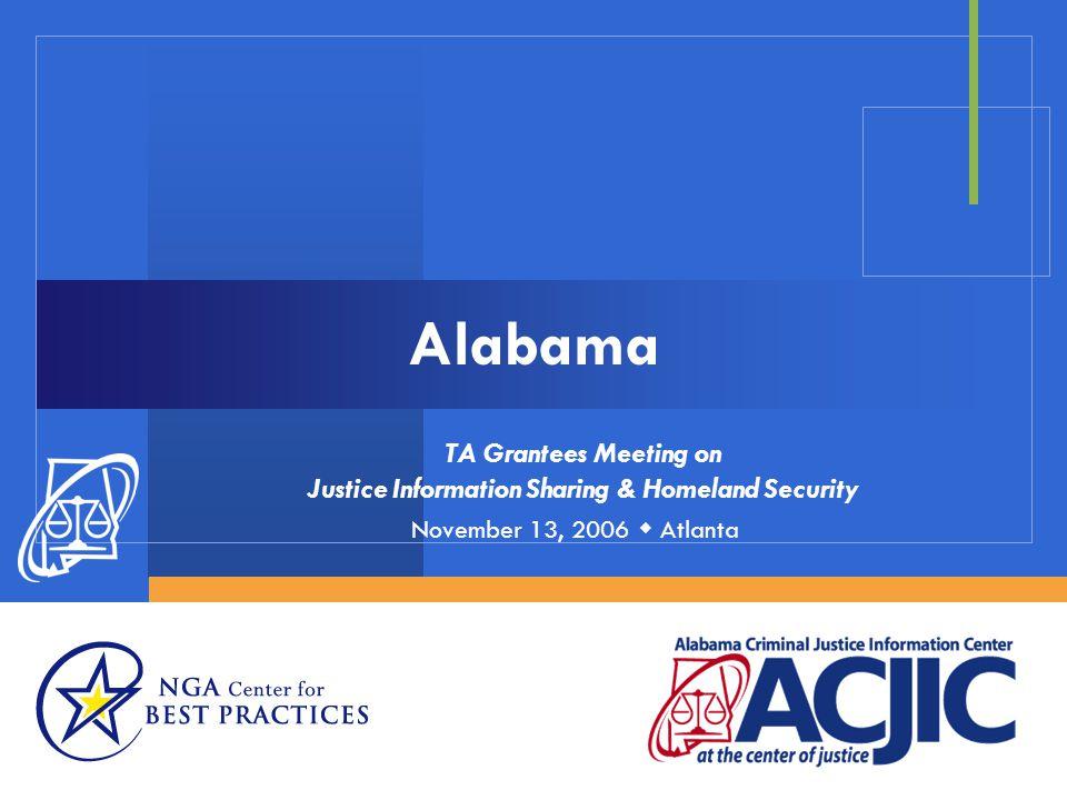 Alabama TA Grantees Meeting on Justice Information Sharing & Homeland Security November 13, 2006  Atlanta