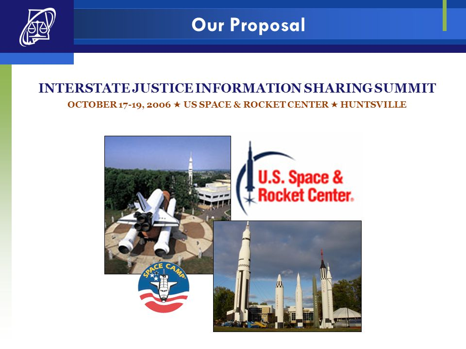 Our Proposal INTERSTATE JUSTICE INFORMATION SHARING SUMMIT OCTOBER 17-19, 2006  US SPACE & ROCKET CENTER  HUNTSVILLE