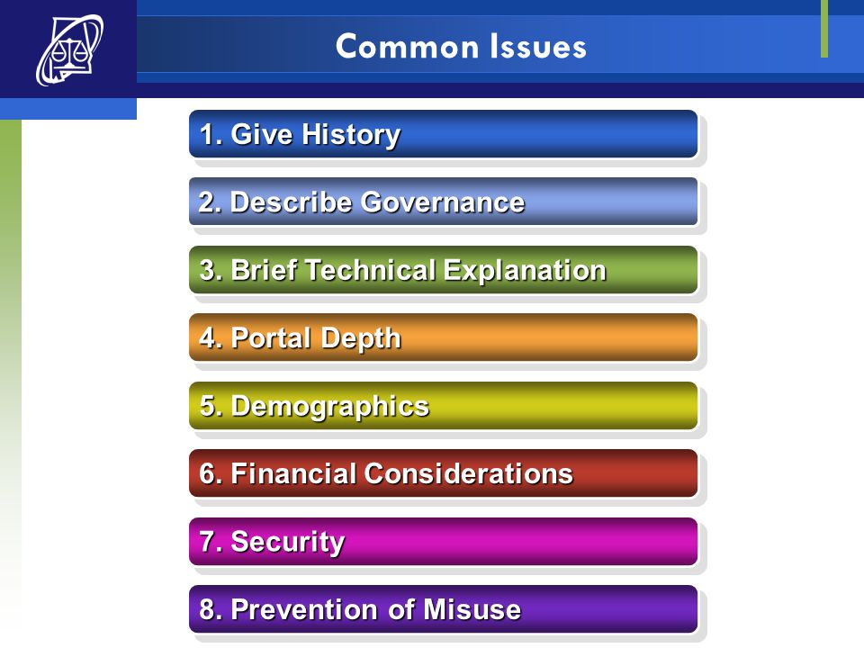 Common Issues 1. Give History 1. Give History 2. Describe Governance 2. Describe Governance 3. Brief Technical Explanation 3. Brief Technical Explanat
