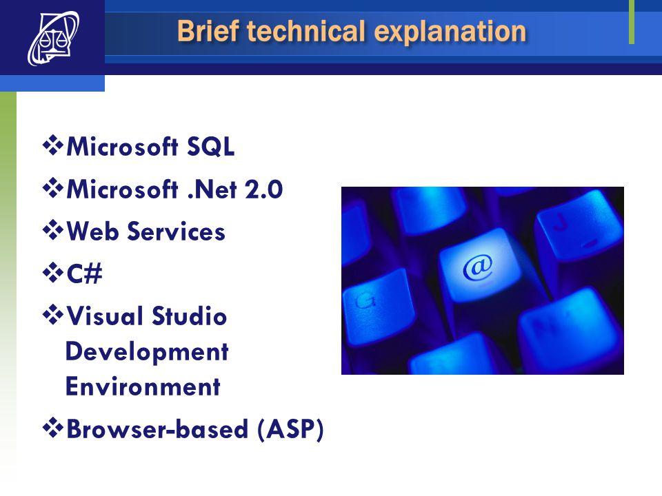  Microsoft SQL  Microsoft.Net 2.0  Web Services  C#  Visual Studio Development Environment  Browser-based (ASP)