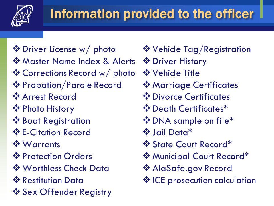  Driver License w/ photo  Master Name Index & Alerts  Corrections Record w/ photo  Probation/Parole Record  Arrest Record  Photo History  Boat