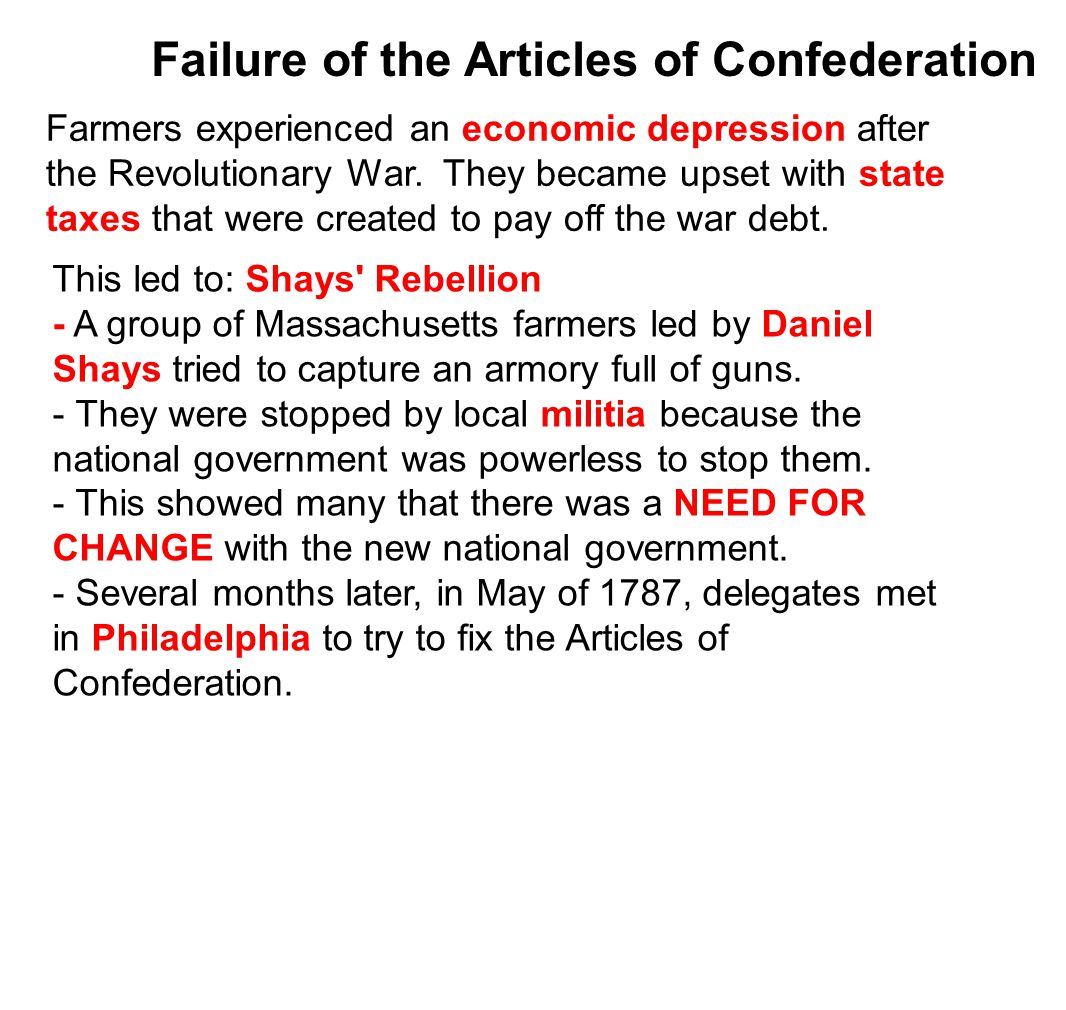 Failure of the Articles of Confederation Farmers experienced an economic depression after the Revolutionary War.