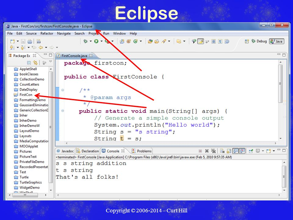 Eclipse Copyright © 2006-2014 – Curt Hill