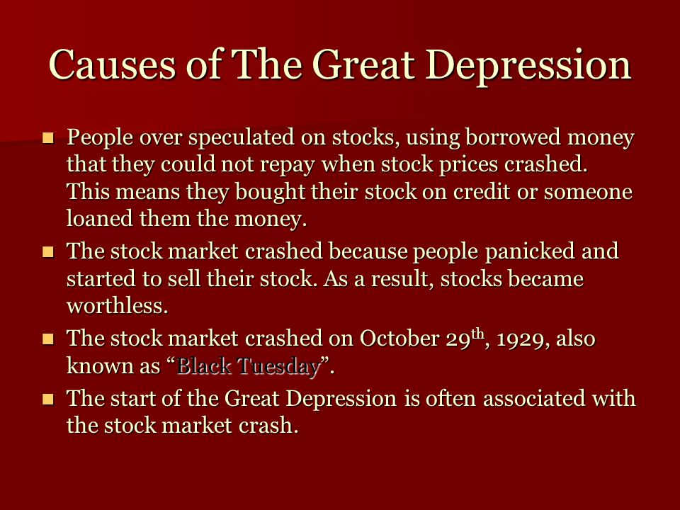 Causes of the Great Depression continued Causes of the Great Depression continued The Federal Reserve failed to prevent the collapse of the banking system.