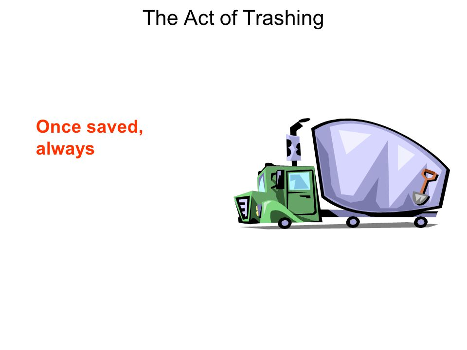 The Act of Trashing Once saved, always