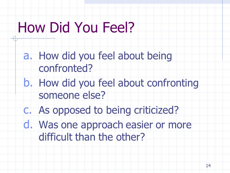 14 How Did You Feel.a. How did you feel about being confronted.