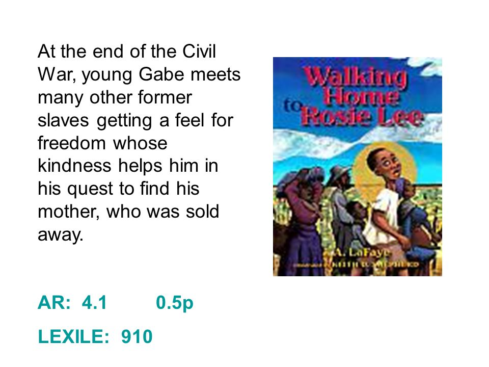 At the end of the Civil War, young Gabe meets many other former slaves getting a feel for freedom whose kindness helps him in his quest to find his mother, who was sold away.