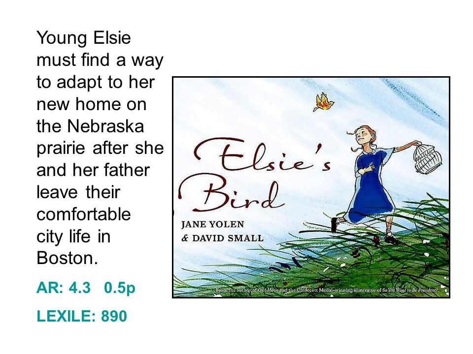 Young Elsie must find a way to adapt to her new home on the Nebraska prairie after she and her father leave their comfortable city life in Boston.