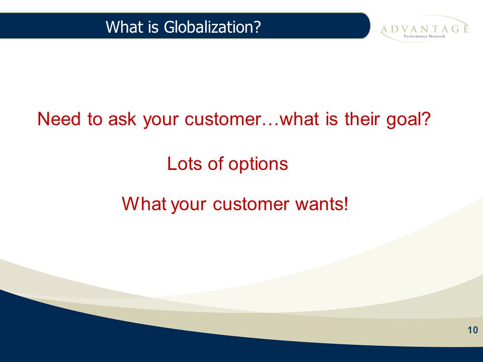 10 What is Globalization. 10 97% Agency Fees Need to ask your customer…what is their goal.