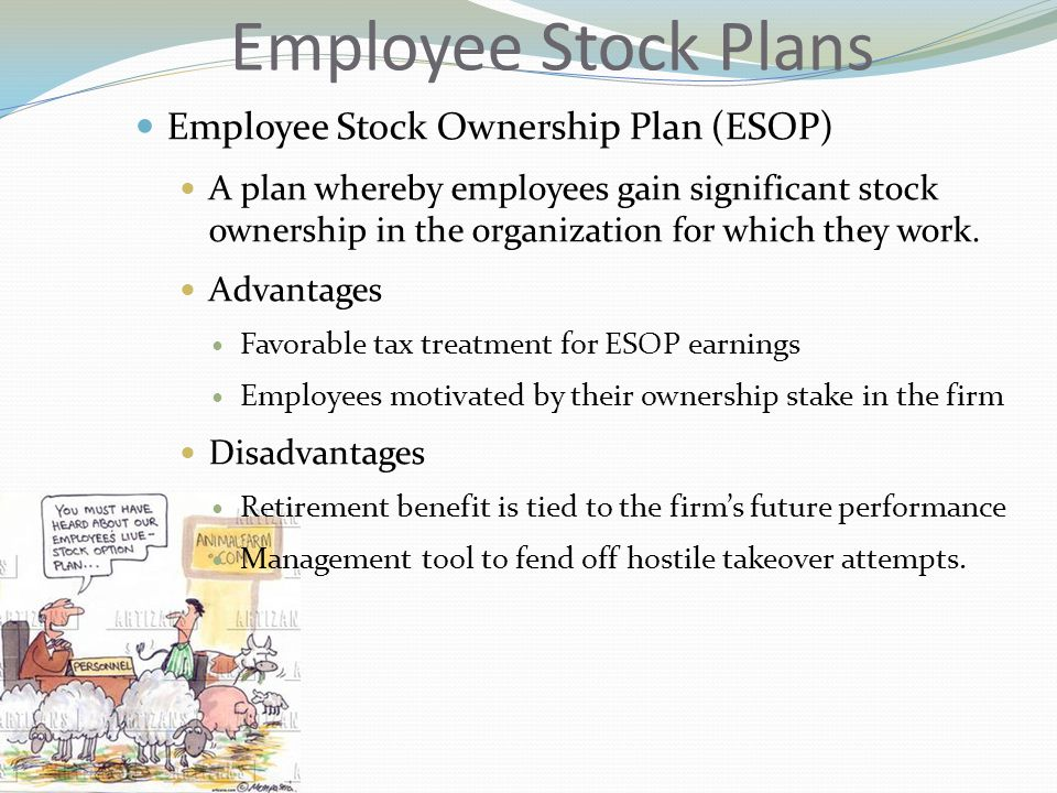 Employee Stock Plans Employee Stock Ownership Plan (ESOP) A plan whereby employees gain significant stock ownership in the organization for which they work.