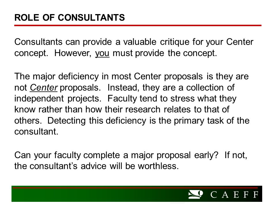 C A E F F Consultants can provide a valuable critique for your Center concept.