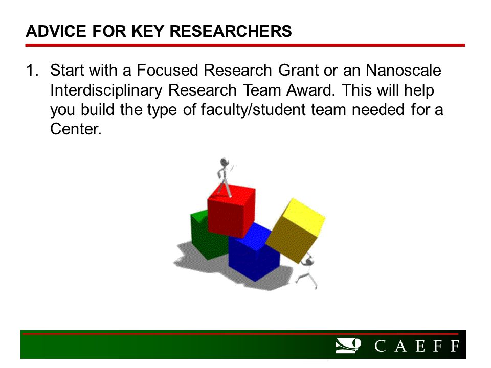 C A E F F 1.Start with a Focused Research Grant or an Nanoscale Interdisciplinary Research Team Award.