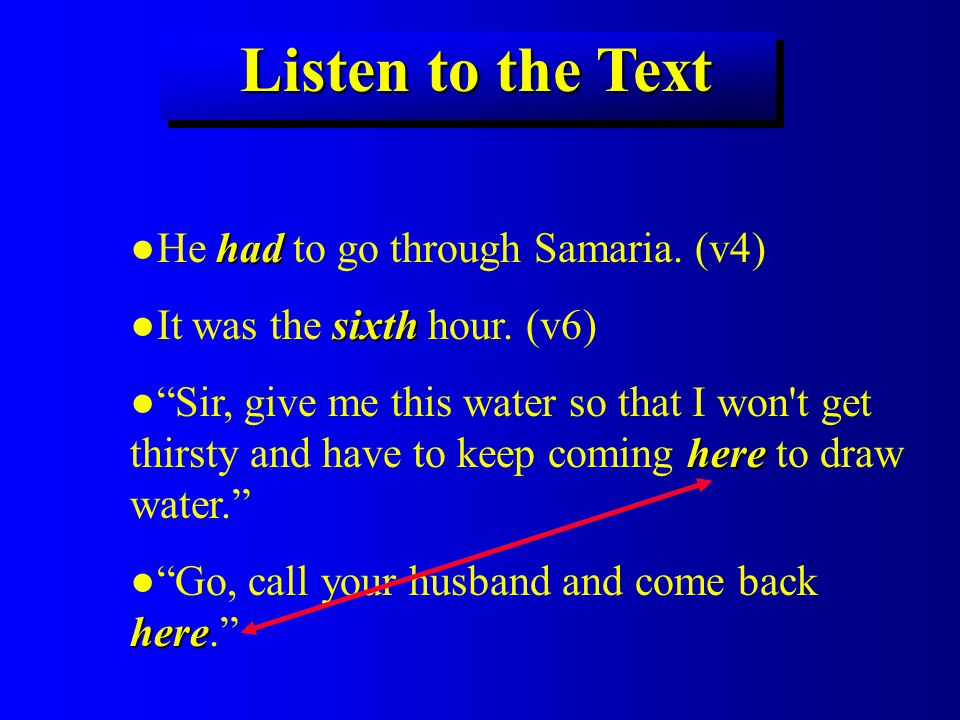 Listen to the Text had ●He had to go through Samaria.