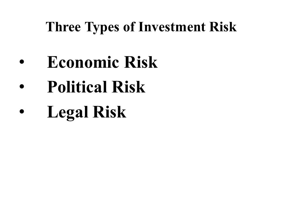 Three Types of Investment Risk Economic Risk Political Risk Legal Risk