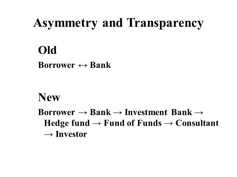 Asymmetry and Transparency Old Borrower ↔ Bank New Borrower → Bank → Investment Bank → Hedge fund → Fund of Funds → Consultant → Investor