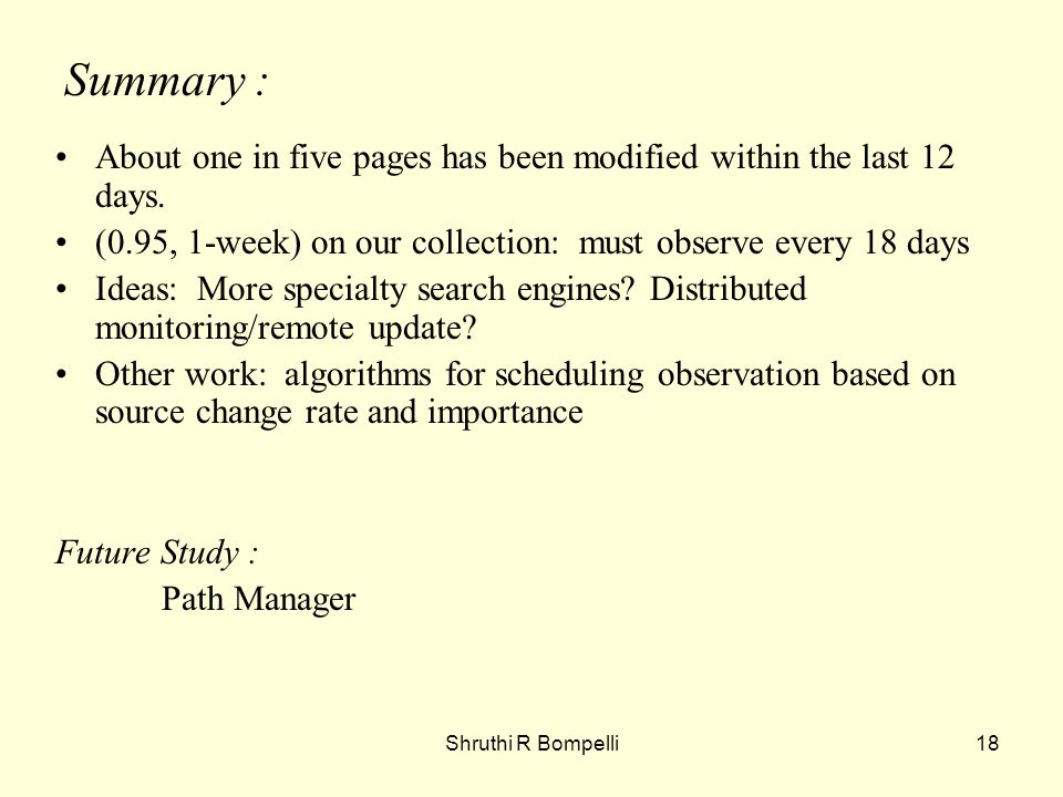 Shruthi R Bompelli18 Summary : About one in five pages has been modified within the last 12 days.