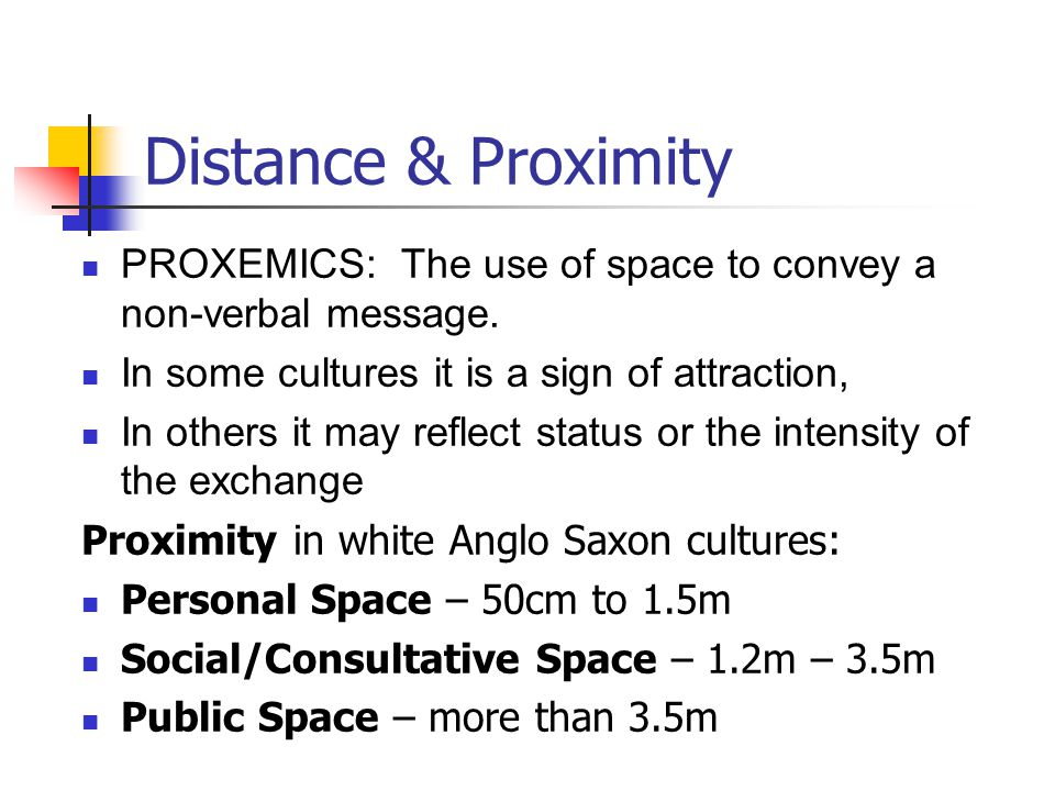 Distance & Proximity PROXEMICS: The use of space to convey a non-verbal message. In some cultures it is a sign of attraction, In others it may reflect