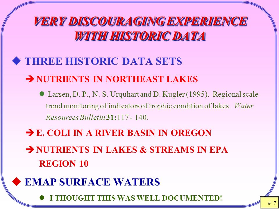 # 7 VERY DISCOURAGING EXPERIENCE WITH HISTORIC DATA  THREE HISTORIC DATA SETS  NUTRIENTS IN NORTHEAST LAKES Larsen, D. P., N. S. Urquhart and D. Kug