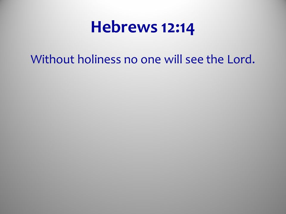 Hebrews 12:14 Without holiness no one will see the Lord.