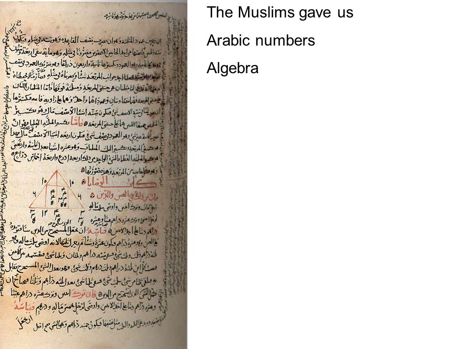 The Muslims gave us Arabic numbers Algebra