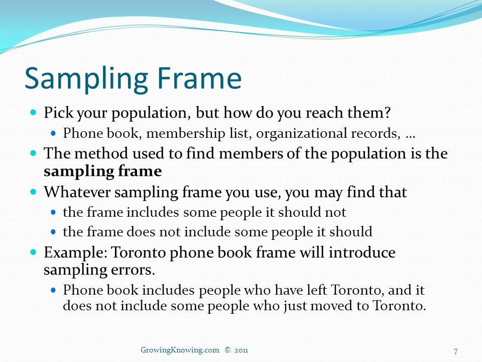 Sampling Frame Pick your population, but how do you reach them.