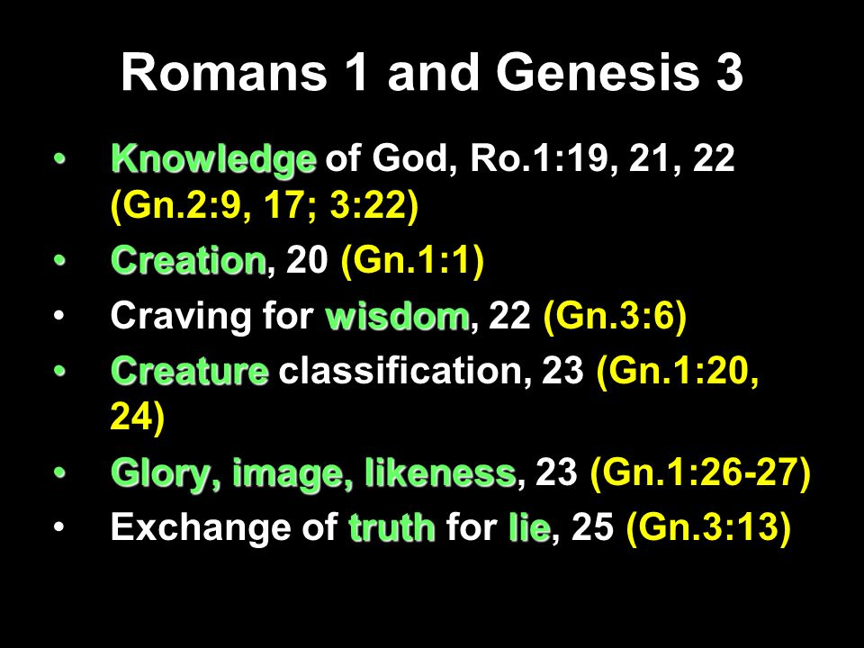 Romans 1 and Genesis 3 KnowledgeKnowledge of God, Ro.1:19, 21, 22 (Gn.2:9, 17; 3:22) CreationCreation, 20 (Gn.1:1) wisdomCraving for wisdom, 22 (Gn.3:
