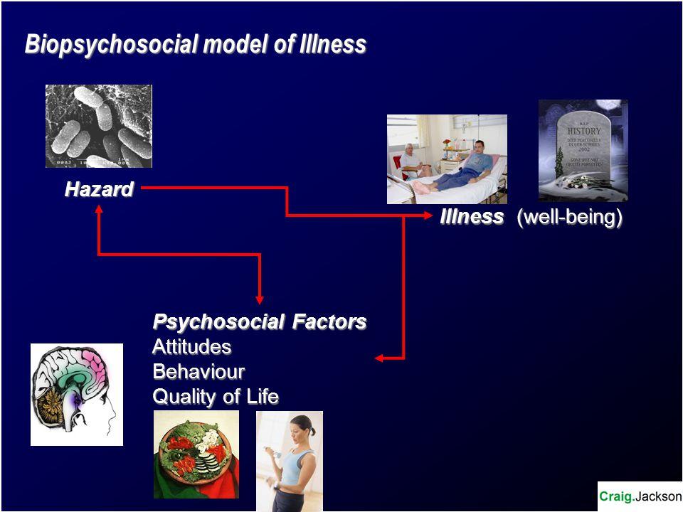 Hazard Psychosocial Factors AttitudesBehaviour Quality of Life Illness (well-being) Biopsychosocial model of Illness