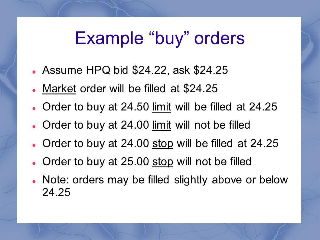 Types of sell orders Market order: sell at the current ask price Limit order: sell when and if the stock rises above the specified price  Usual intent: take profits when stock has reached target Stop order: sell if and when the stock drops below the specified price  Usual intent: avoid runaway losses on a long position