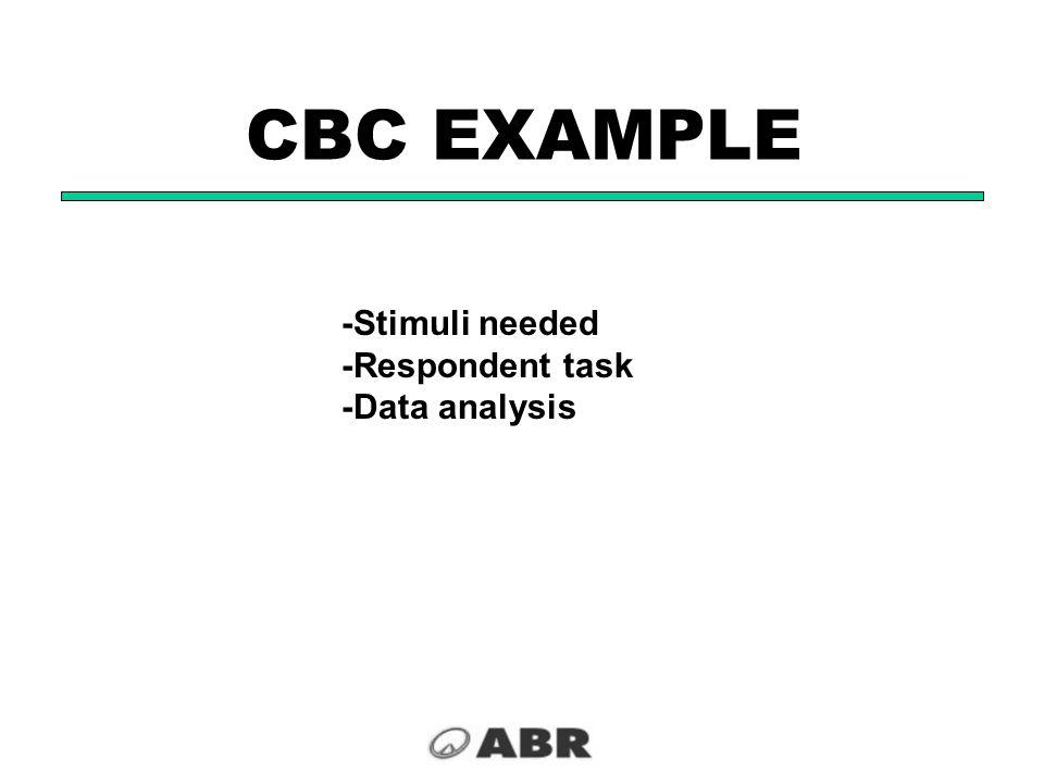 CBC EXAMPLE -Stimuli needed -Respondent task -Data analysis