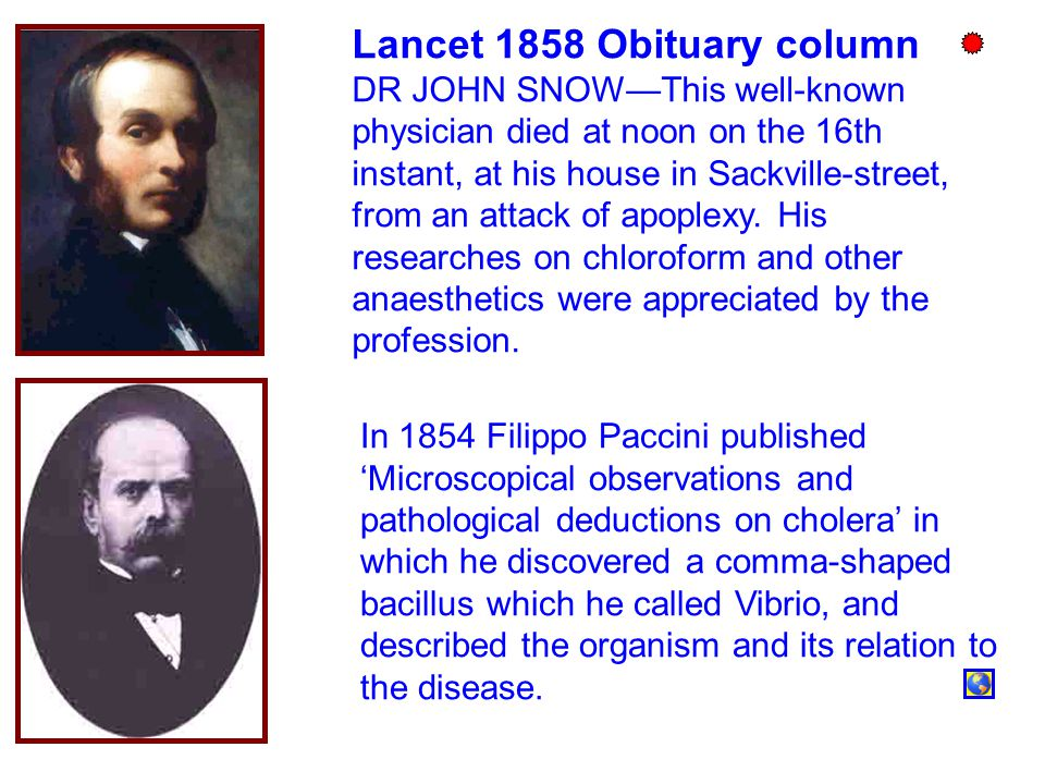 Lancet 1858 Obituary column DR JOHN SNOW—This well-known physician died at noon on the 16th instant, at his house in Sackville-street, from an attack of apoplexy.