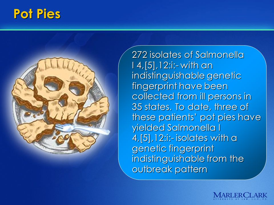 Pot Pies 272 isolates of Salmonella I 4,[5],12:i:- with an indistinguishable genetic fingerprint have been collected from ill persons in 35 states.