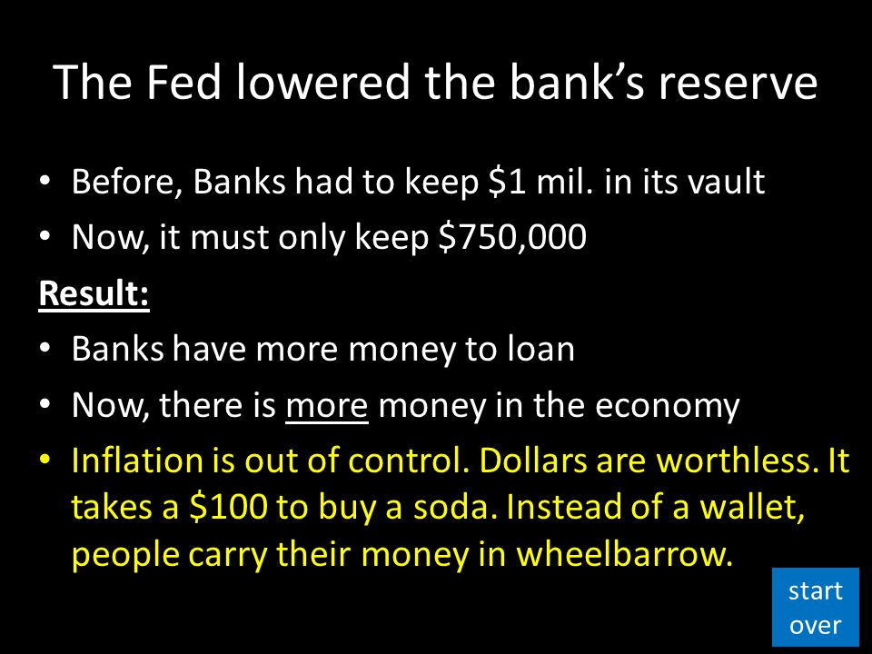 The Fed lowered the bank's reserve Before, Banks had to keep $1 mil.