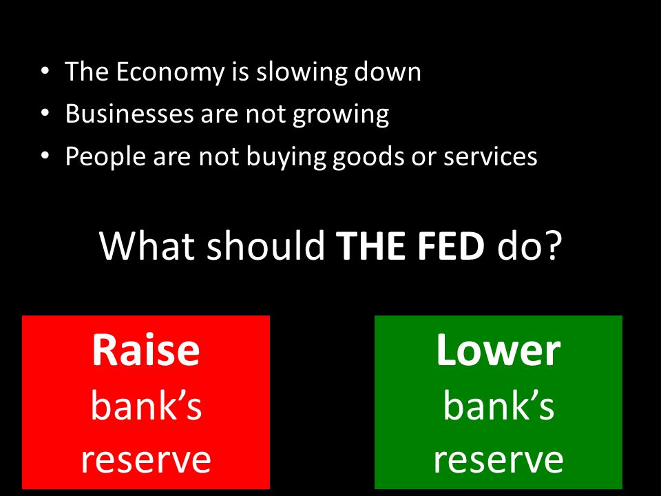 The Economy is slowing down Businesses are not growing People are not buying goods or services What should THE FED do? Raise bank's reserve Lower bank